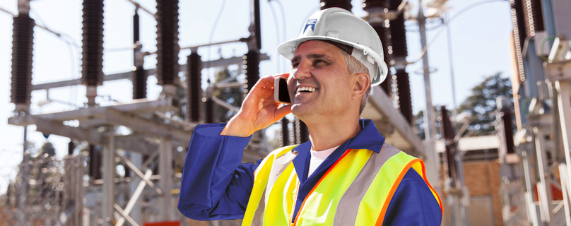 electrical engineer on cell phone